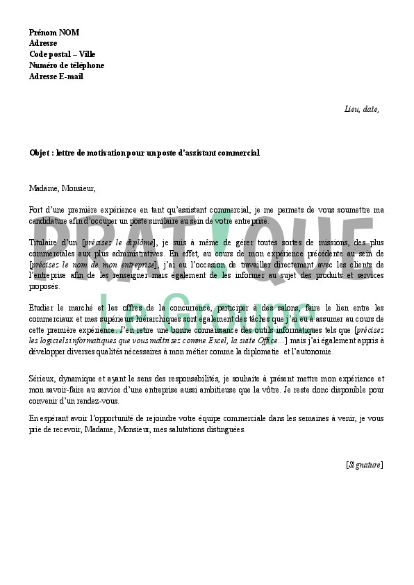 exemple lettre de motivation pour un poste commercial