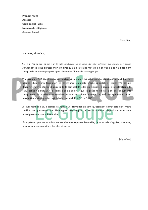 lettre de motivation tri postale