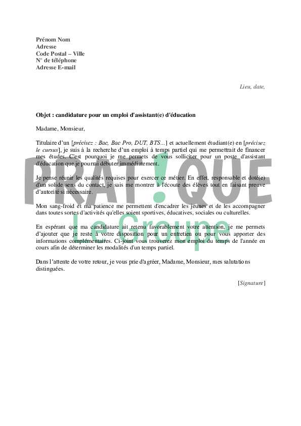 assistant d\\\'éducation lettre de motivation Lettre de motivation pour un emploi d'assistant(e) d'éducation  assistant d\\\'éducation lettre de motivation