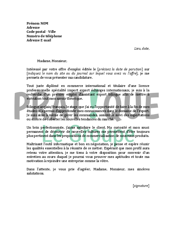 lettre de motivation pour un emploi d u0026 39 assistant export bilingue d u00e9butant