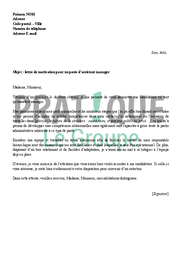 Lettre de motivation pour un emploi d'assistant manager | Pratique.fr
