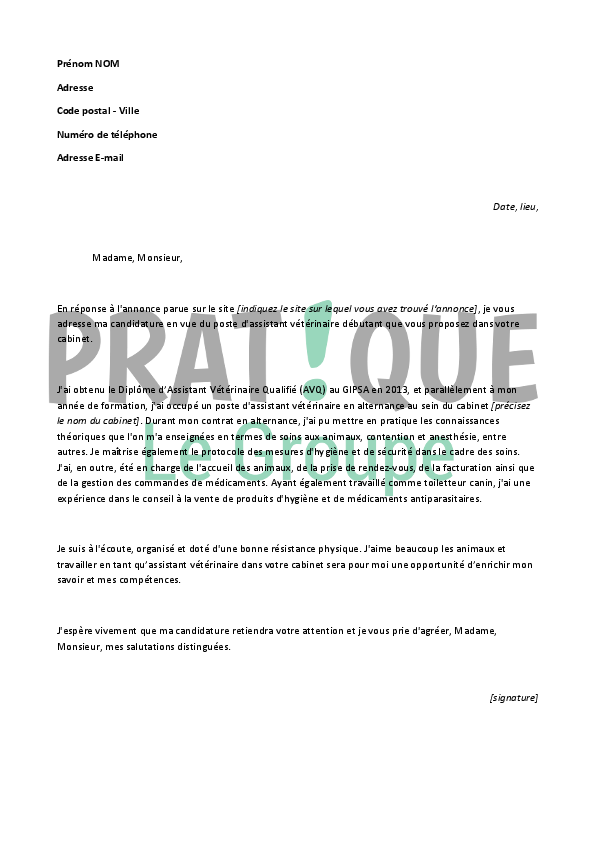 exemple lettre de motivation garde d u0026 39 animaux