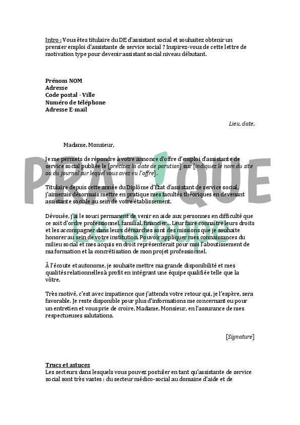 lettre de motivation assistante sociale