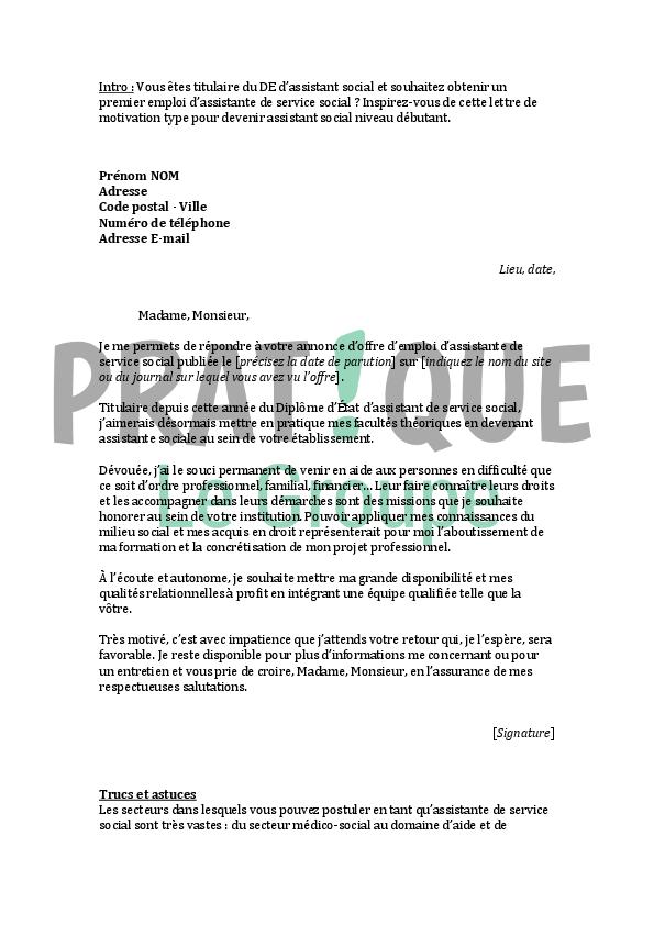 lettre de motivation pour un emploi d assistante de service social d 233 butante pratique fr