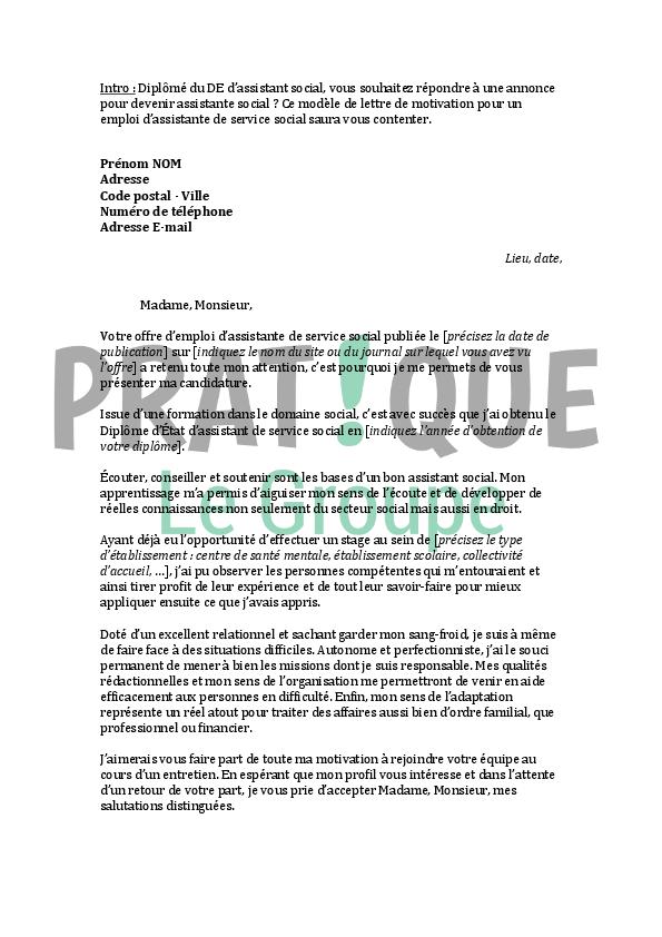 lettre de motivation pour un emploi d u0026 39 assistante de