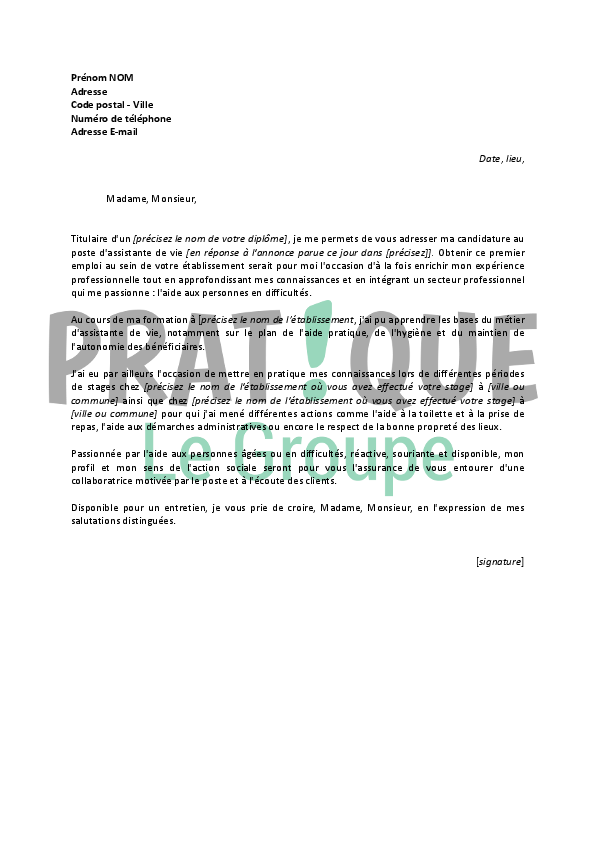 exemple lettre de motivation formation assistant de vie