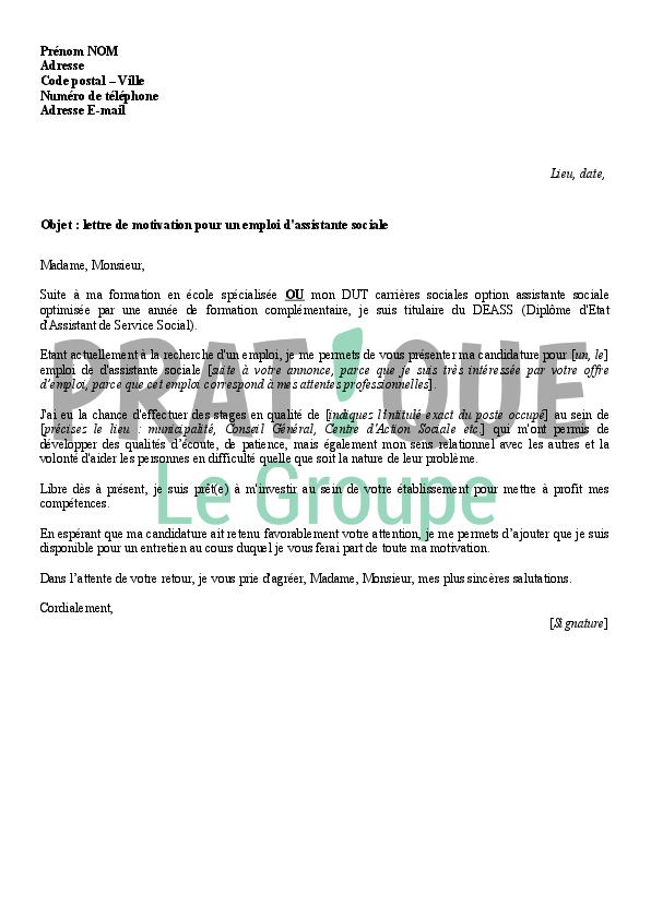 Lettre de motivation pour un emploi d'assistante sociale | Pratique.fr