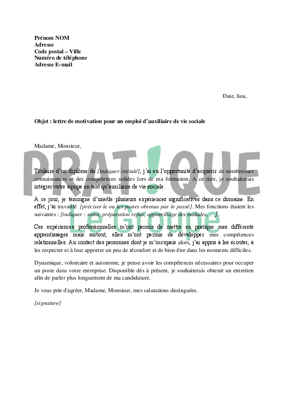 Lettre De Motivation Assistante De Vie Scolaire