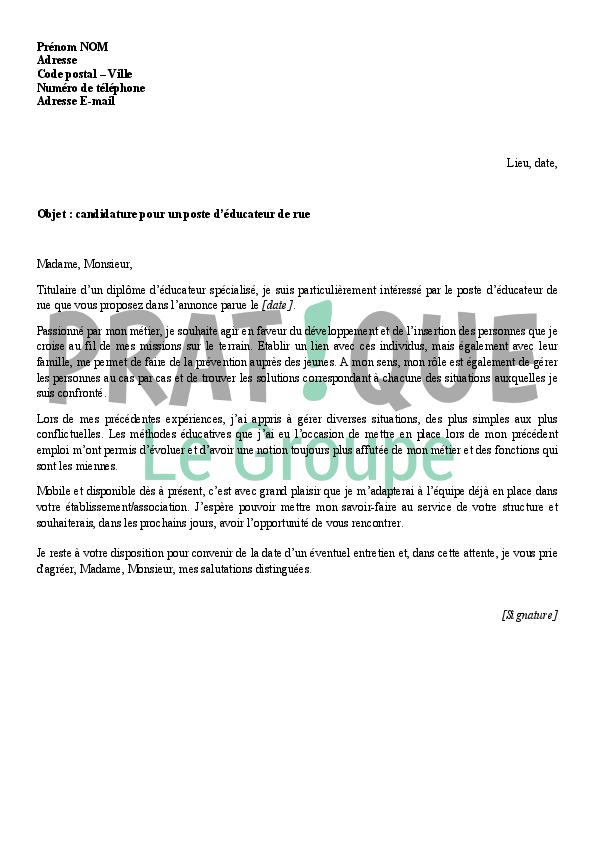 lettre de motivation pour un emploi d u0026 39  u00e9ducateur de rue