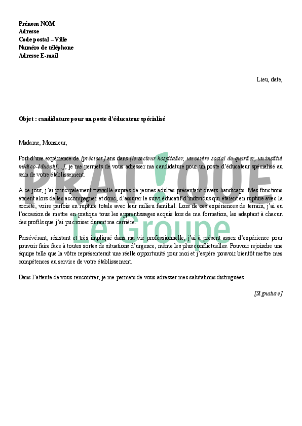 exemple lettre de motivation educateur specialise ime