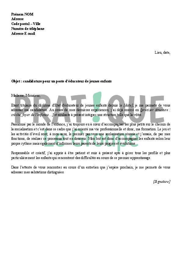 lettre de motivation pour un emploi d u0026 39  u00e9ducatrice jeunes enfants