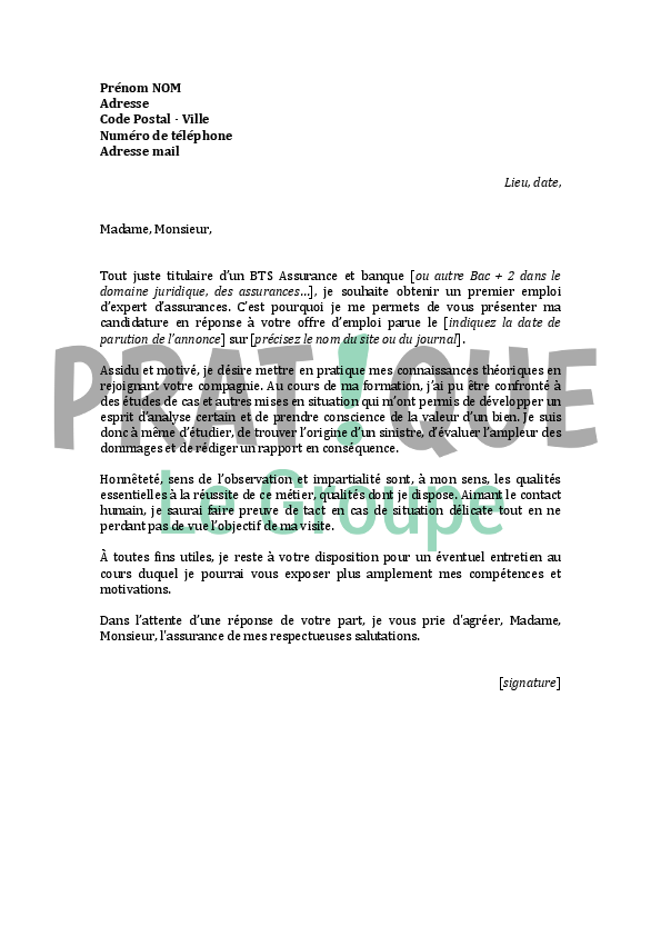 lettre de motivation assurance Lettre de motivation pour un emploi d'expert en assurances  lettre de motivation assurance
