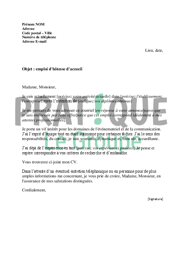 exemple lettre de motivation hotesse d u0026 39 accueil evenementiel