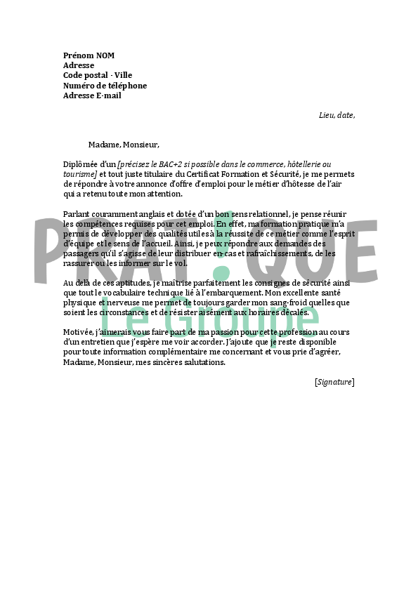 lettre de motivation pour un emploi d u0026 39 h u00f4tesse de l u0026 39 air