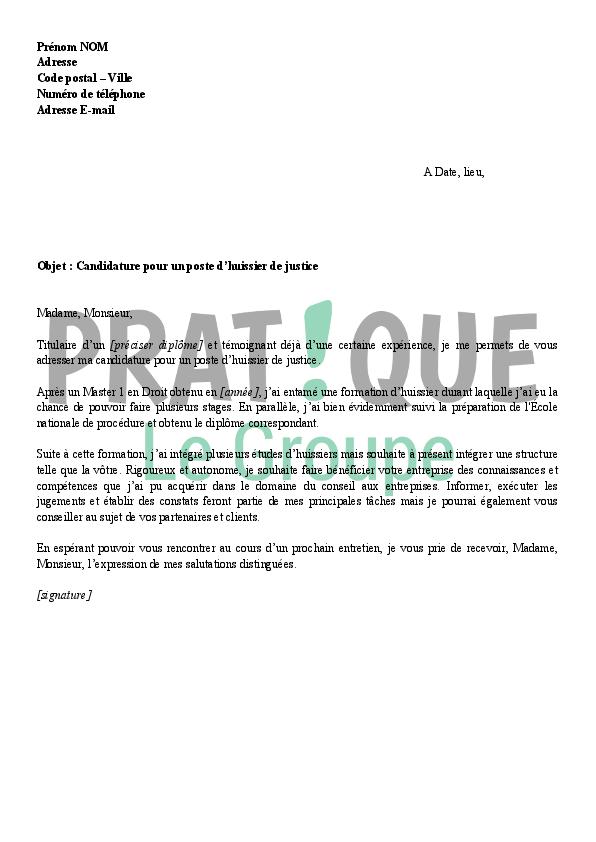 lettre de motivation pour un emploi d u0026 39 huissier de justice