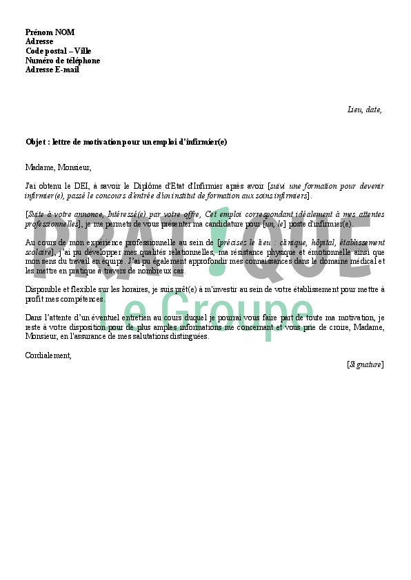 lettre de motivation infirmier ssr