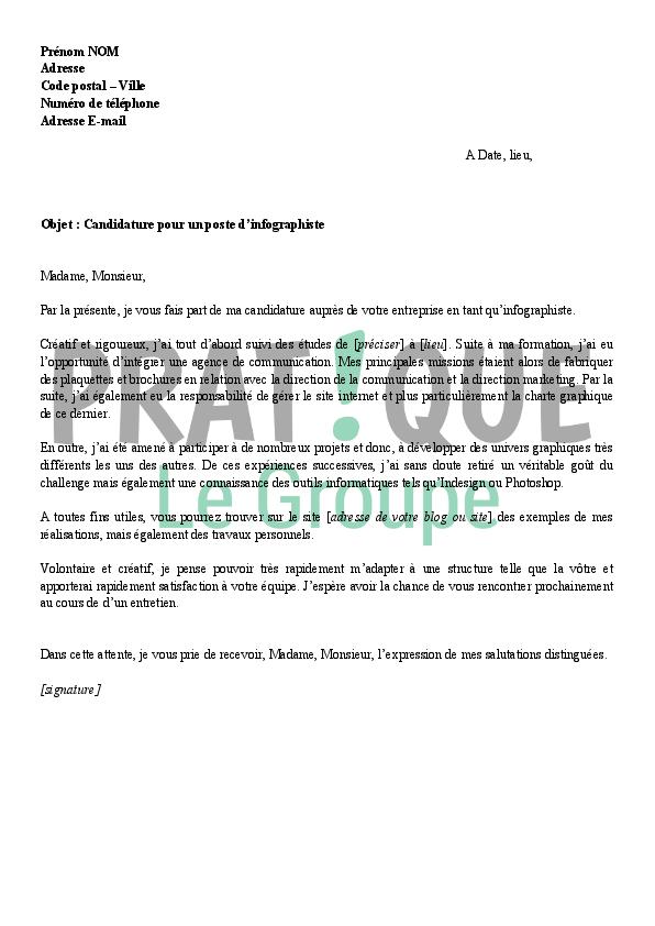 lettre de motivation pour un emploi d u0026 39 infographiste