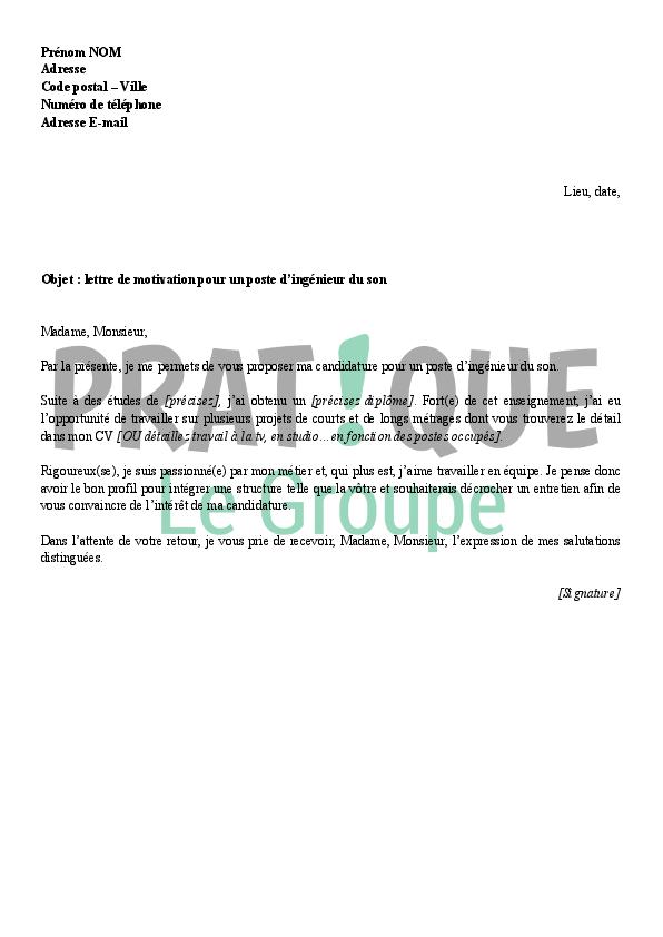 lettre de motivation pour un emploi d u0026 39 ing u00e9nieur du son