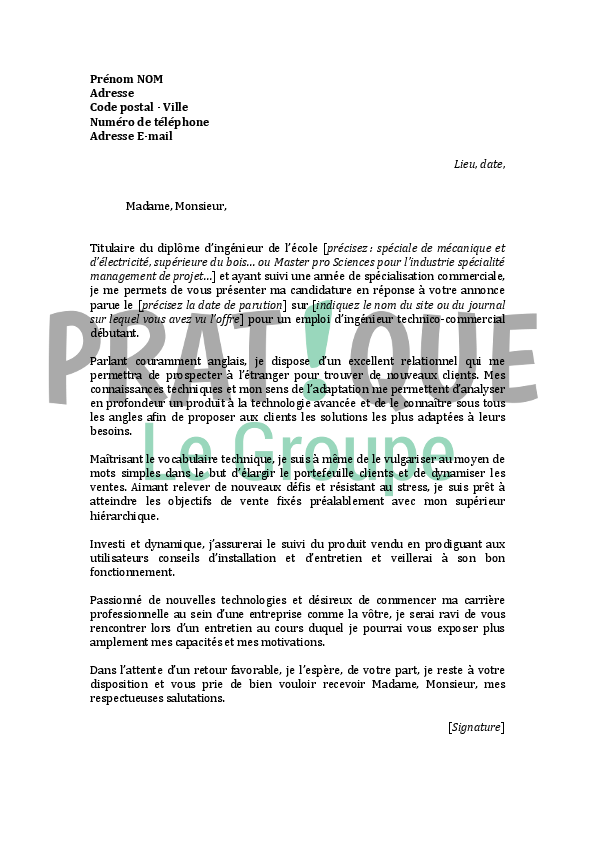 exemple lettre motivation ingenieur debutant