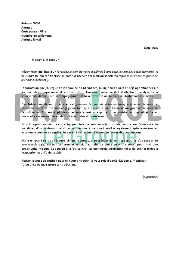 lettre de motivation pour un emploi d u0026 39 intervenant d u0026 39 action sociale d u00e9butant