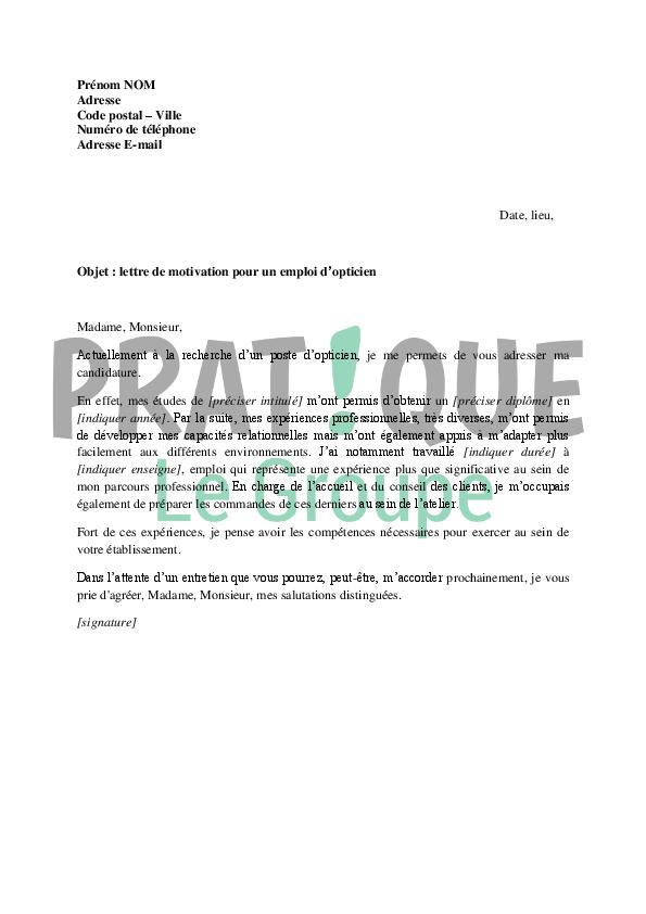 lettre de motivation pour un emploi d u0026 39 opticien