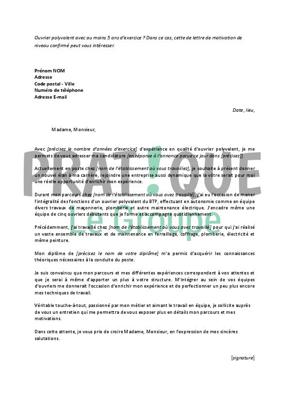 application letter sample  exemple de lettre de motivation pour un emploi polyvalent