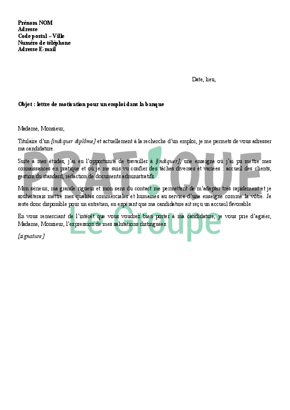 lettre de motivation banque postale