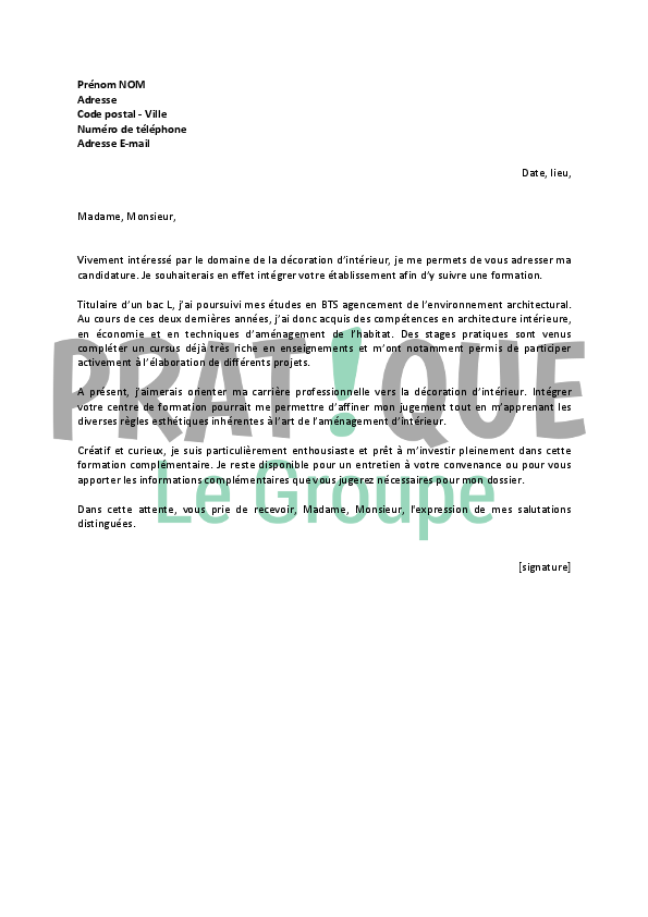 Lettre de motivation pour un emploi de formation de for Bts decorateur interieur