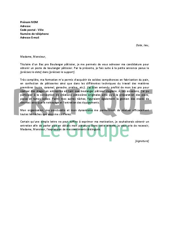 lettre de motivation pour un emploi de boulanger p u00e2tissier d u00e9butant