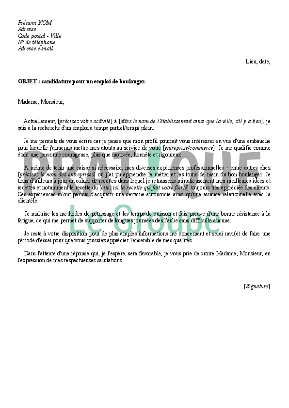 lettre de motivation job d  u00e9t u00e9 boulangerie