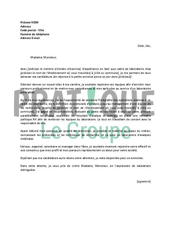 lettre de motivation pour un emploi de cadre de laboratoire confirm u00e9