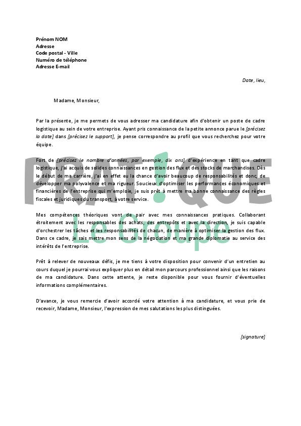 lettre de motivation pour un emploi de cadre logistique