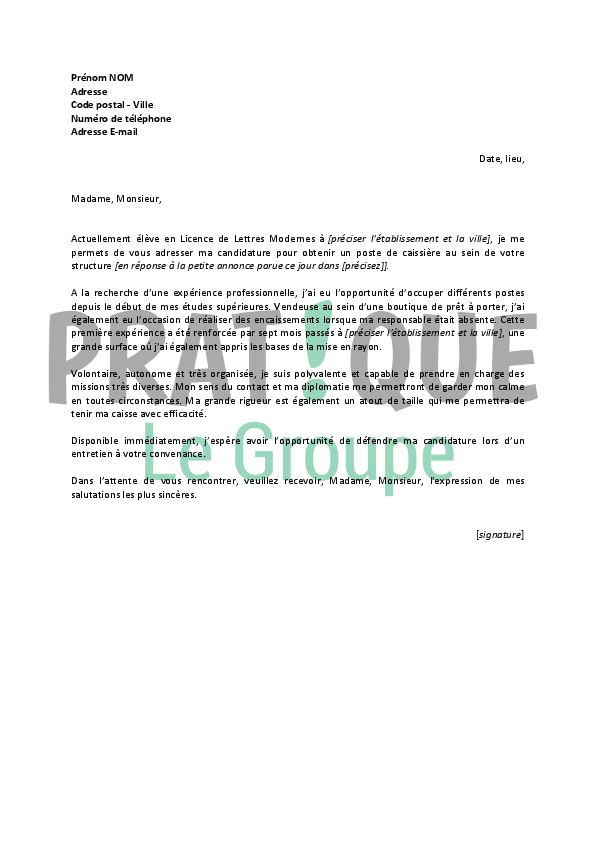 lettre de motivation pour un emploi de caissi u00e8re  job  u00e9tudiant