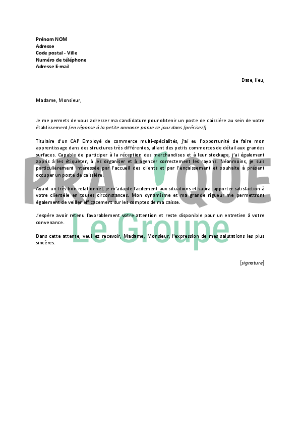 lettre de motivation pour un emploi de caissi u00e8re de supermarch u00e9 d u00e9butant