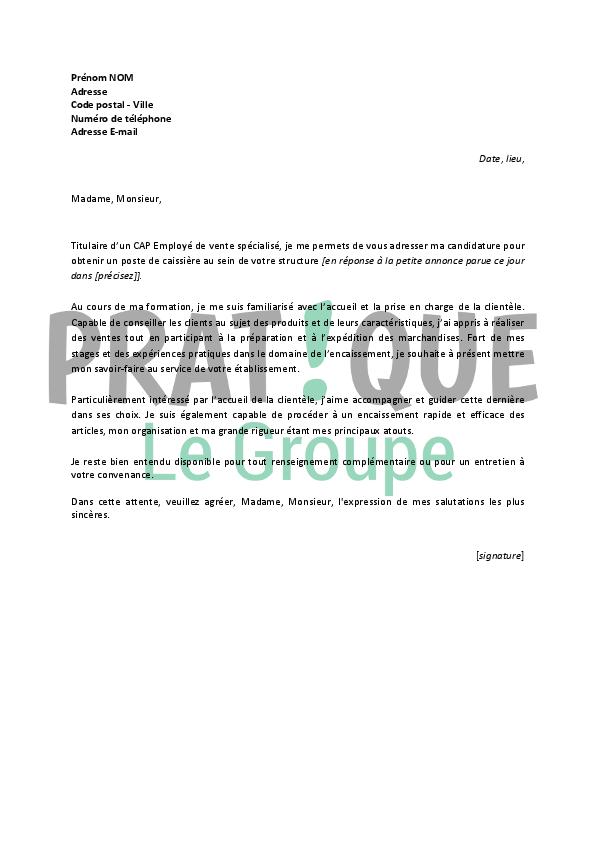 lettre de motivation pour un emploi de caissi u00e8re d u00e9butante