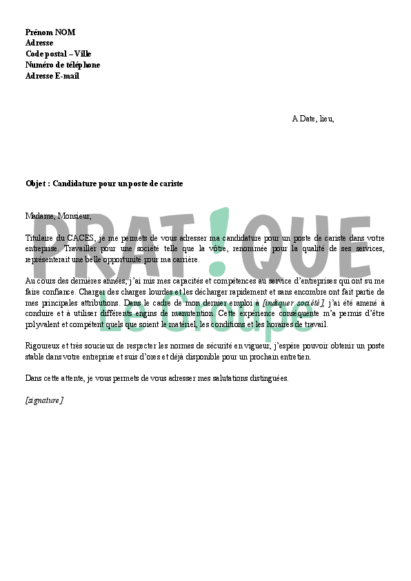 modele lettre de motivation manutentionnaire cariste