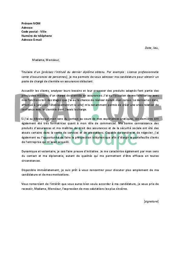 lettre de motivation pour un emploi de charg u00e9 de client u00e8le en assurances d u00e9butant