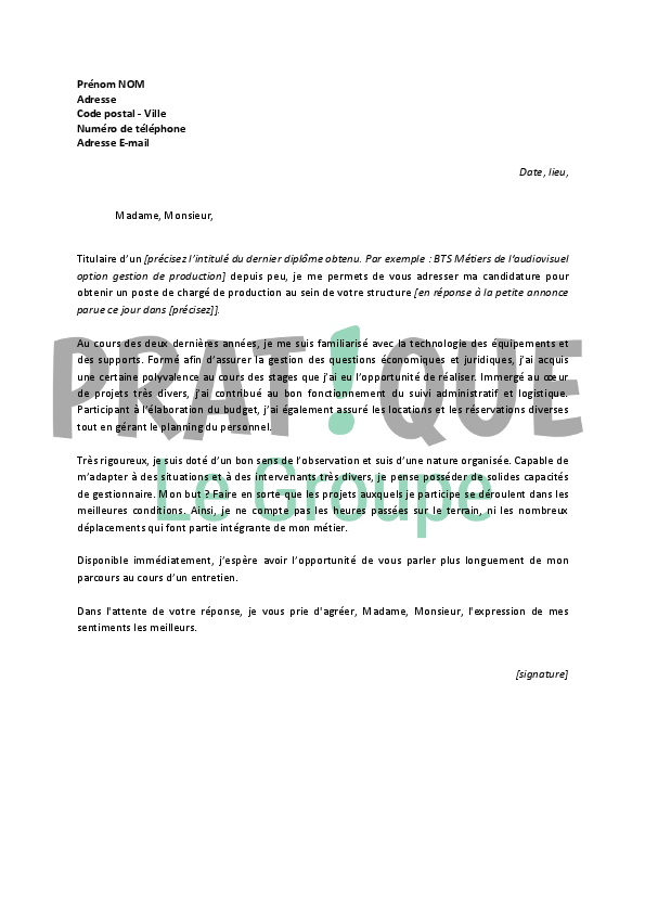 lettre de motivation operateur de production debutant