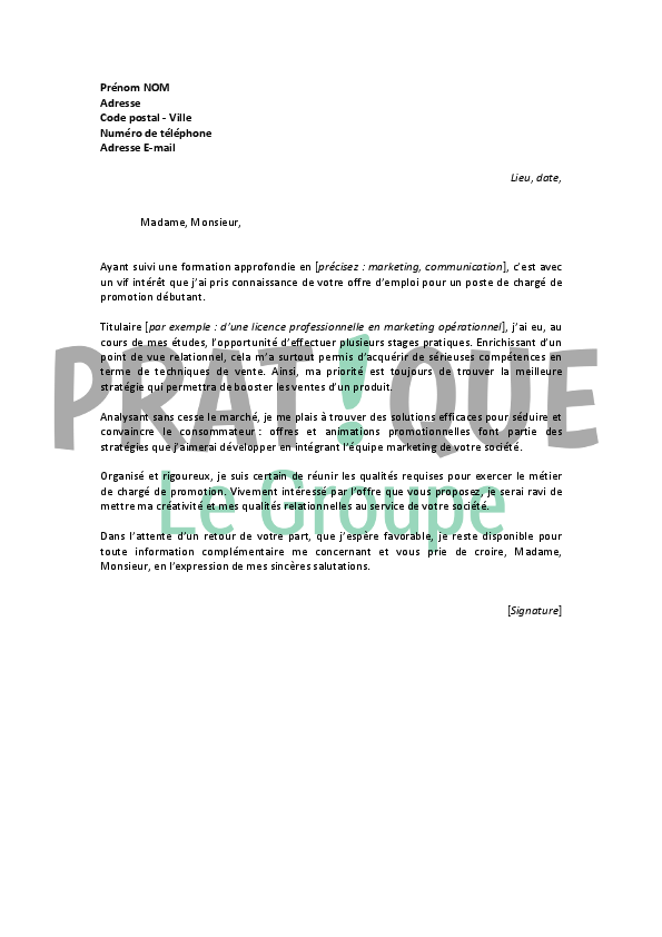 lettre de motivation pour un emploi de charg u00e9 de promotion