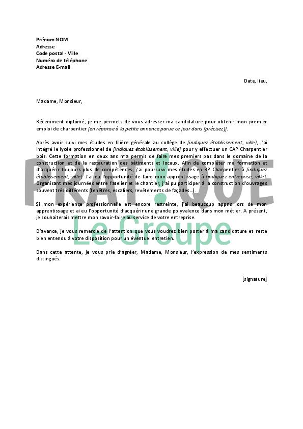 lettre de motivation pour un emploi de charpentier