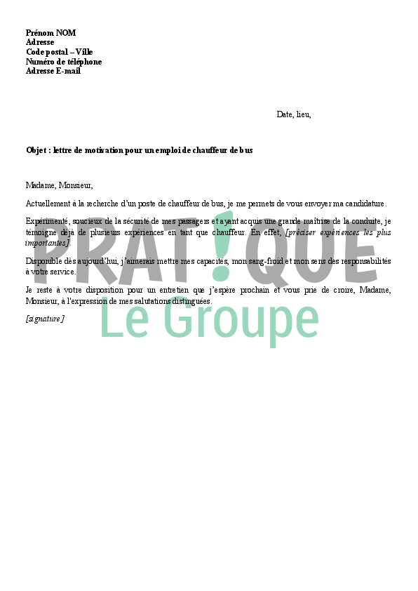 modele lettre de motivation chauffeur de bus