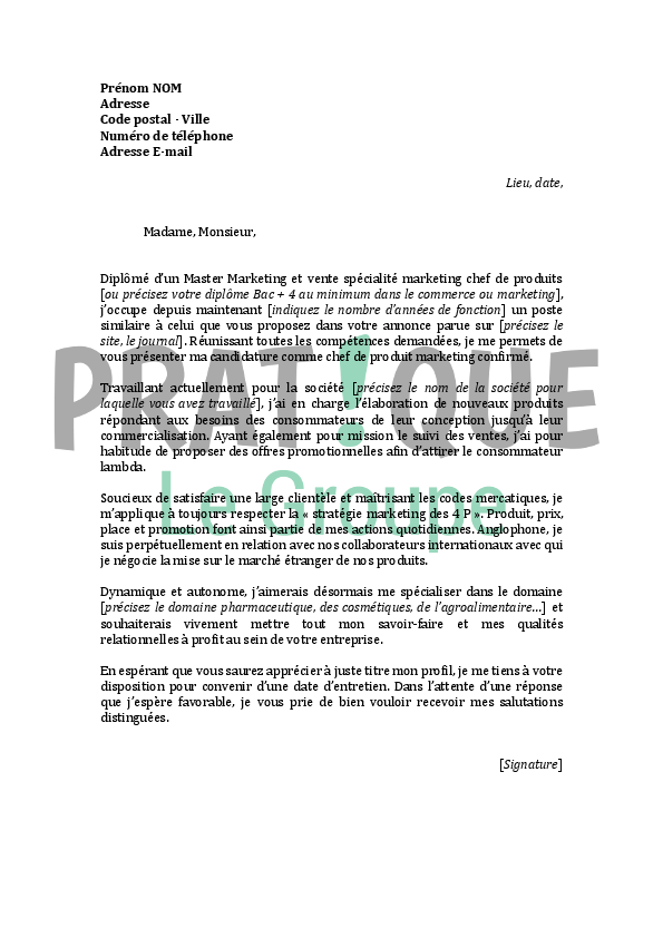 lettre de motivation pour un emploi de chef de produit marketing confirm u00e9