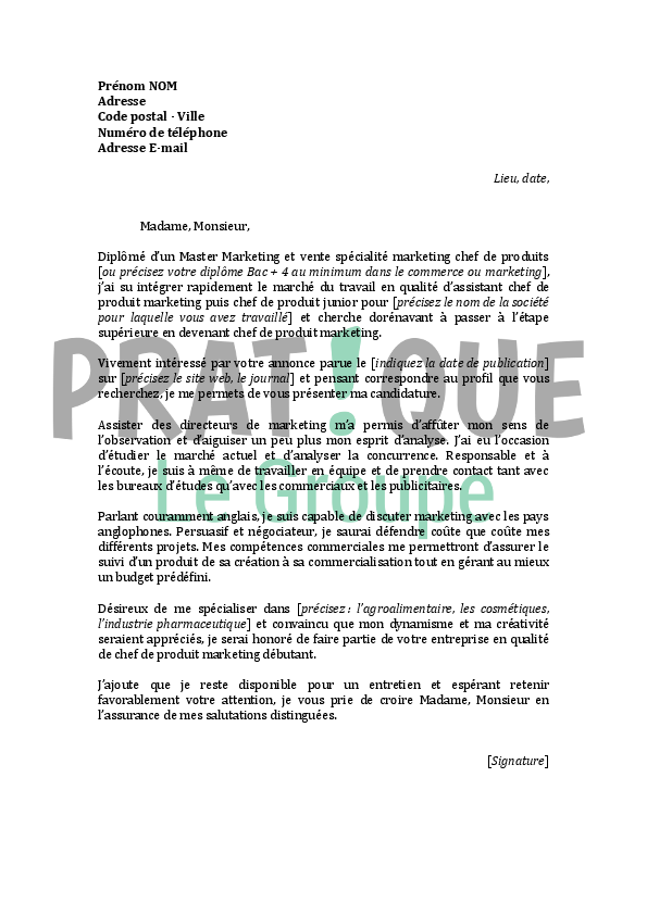 lettre de motivation pour un emploi de chef de produit marketing d u00e9butant