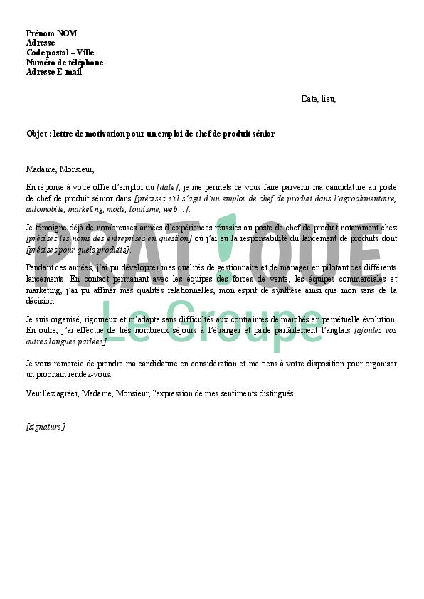 lettre de motivation pour un emploi de chef de produit senior