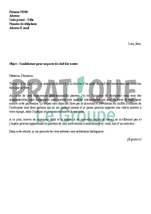 lettre de motivation pour un emploi de chef des ventes