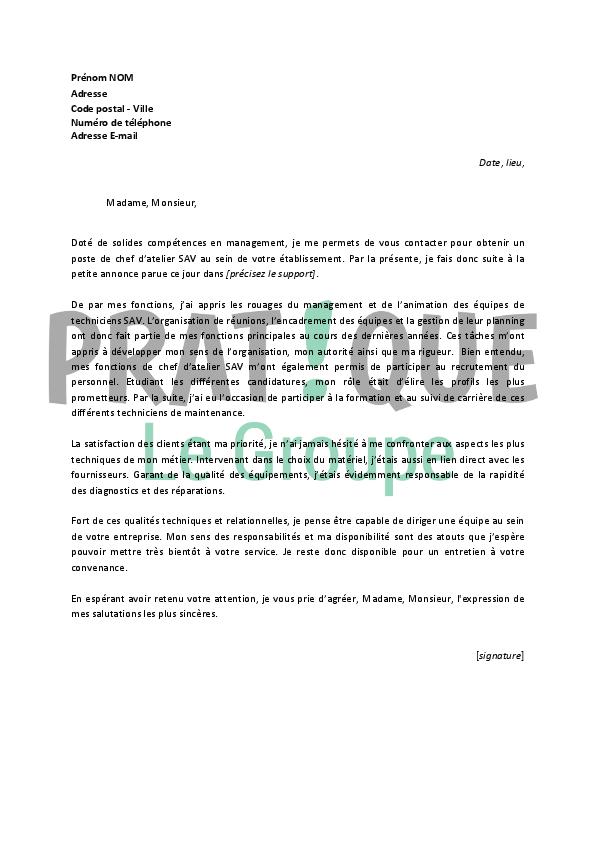 lettre de motivation nouveau poste Lettre de motivation pour un emploi de chef d'atelier SAV confirmé  lettre de motivation nouveau poste