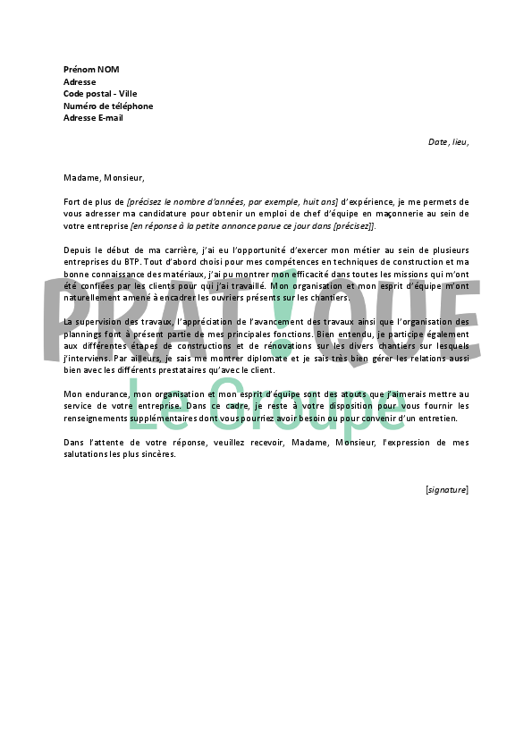 lettre de motivation chef d equipe