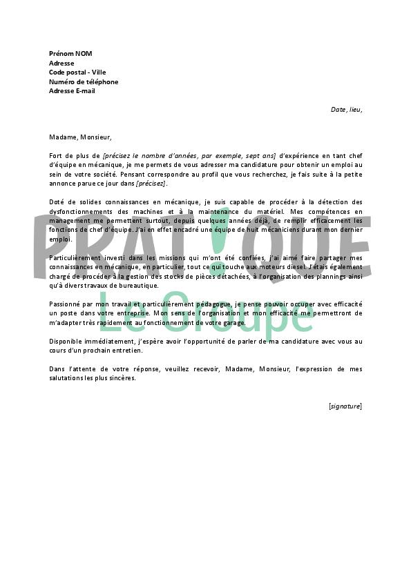 lettre de motivation pour un emploi de chef d u2019 u00e9quipe en