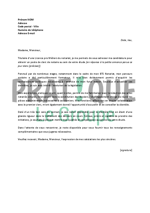 modele lettre de motivation notariat