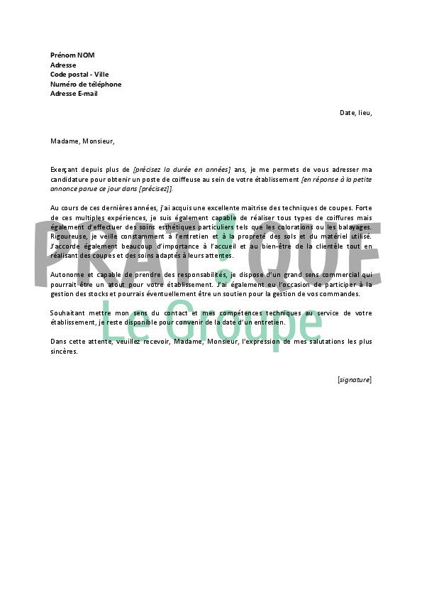 lettre de motivation pour un emploi de coiffeuse confirm u00e9e
